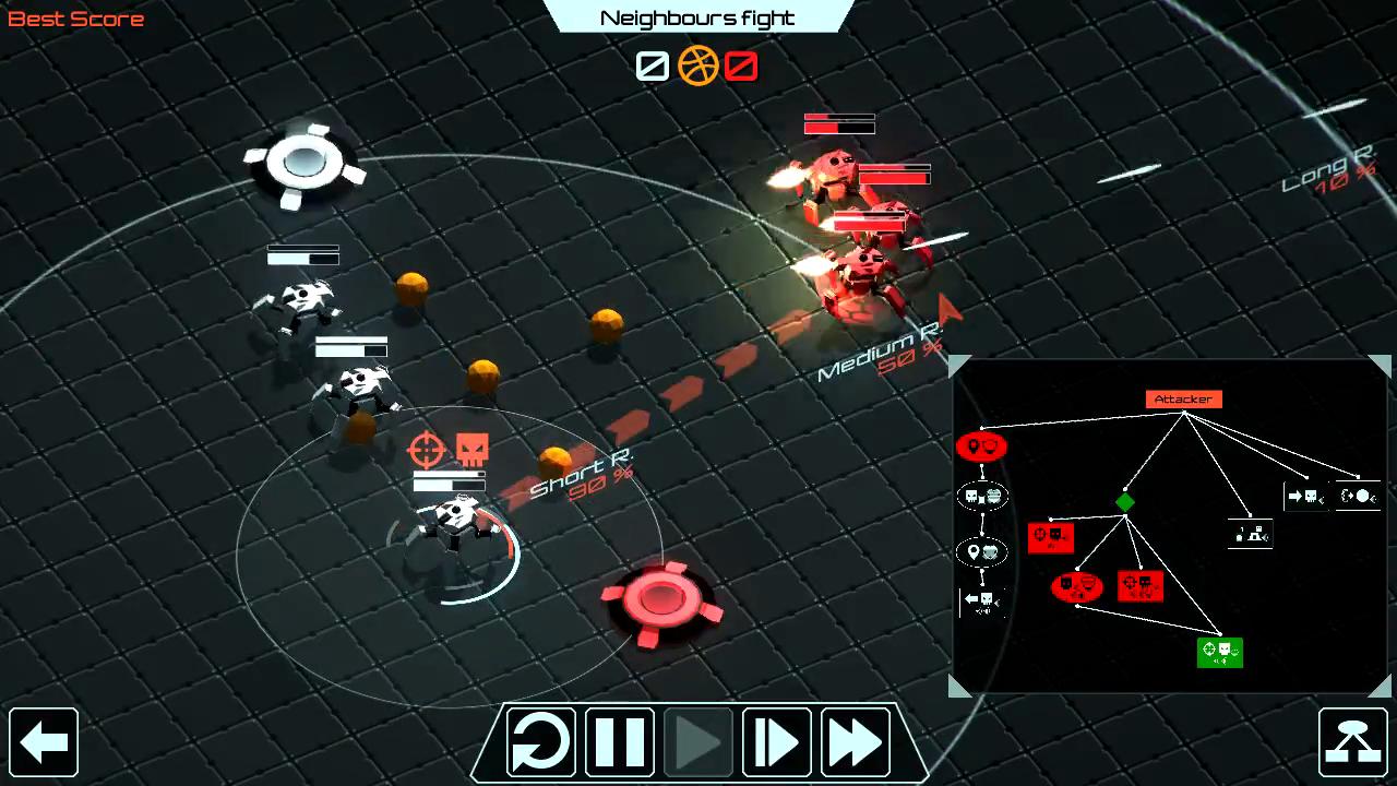 自軍の一番下のロボットをクリックした図。現在取っている行動と目標対象だけでなく、攻撃の命中率範囲も表示される。画面右下にはロボットのAIが表示され、どのように判断し、行動したかが一目瞭然だ。
