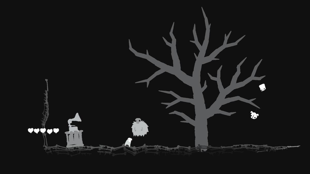 死神の部屋はダンジョン内とは対照的なモノクロ絵で描かれており、ほのかな不気味さが漂う