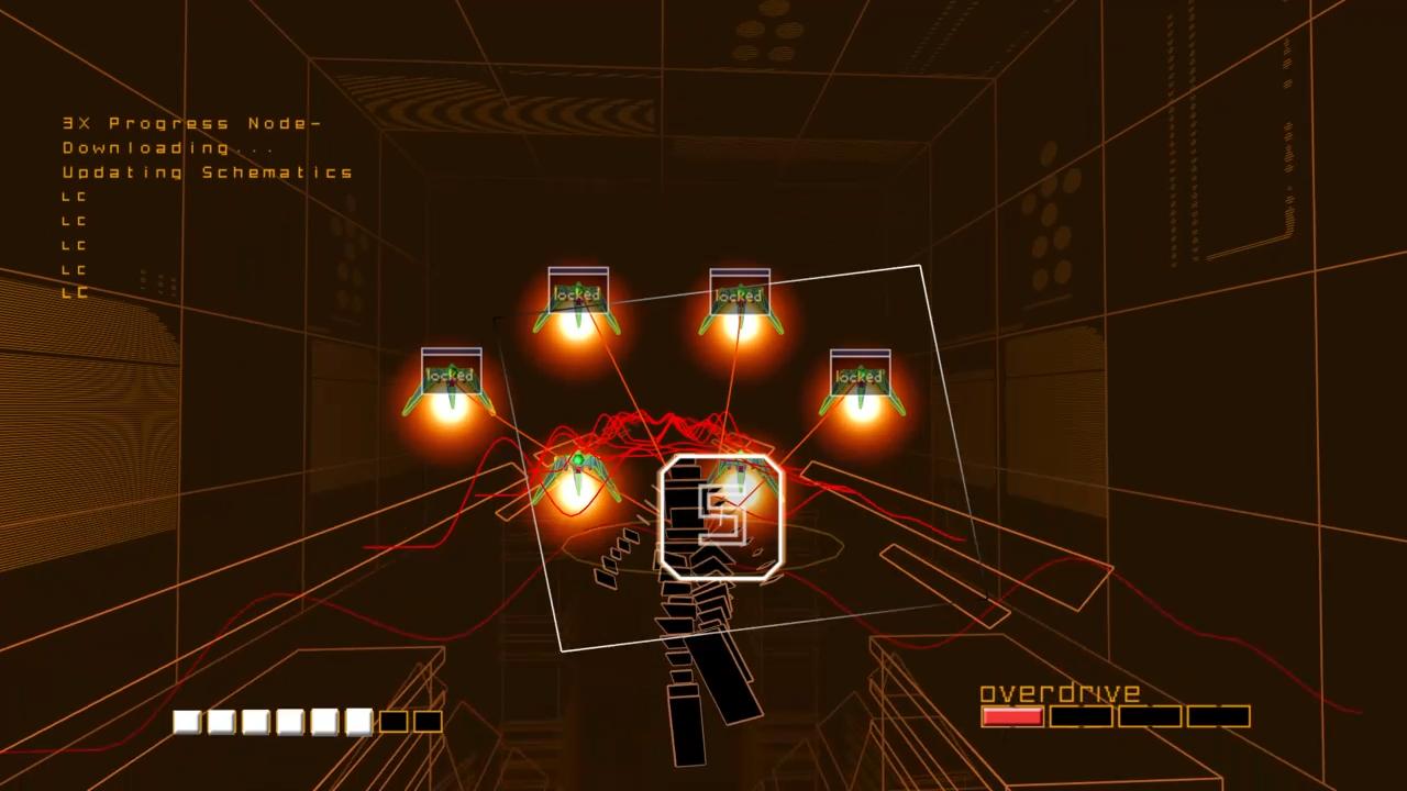 敵キャラを照準に入れるだけ。ロックオンは同時に8つまで可能で、敵の体力の分だけ多重ロックも可能。ロックオン、レーザー発射、着弾に至るまで、それぞれのタイミングはリズムから外れないように自動で調整される