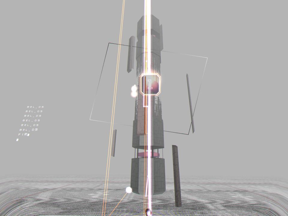 キャプション:別種の仮想空間を思わせるArea5のVRモード。もとよりArea1~4とは異質なAreaだが、敵の巨大感や存在感、自機の浮遊感にさらなる説得力が備わる。またHUDの表示も一部省略される等、VR向けの配慮がなされた画面構成になる