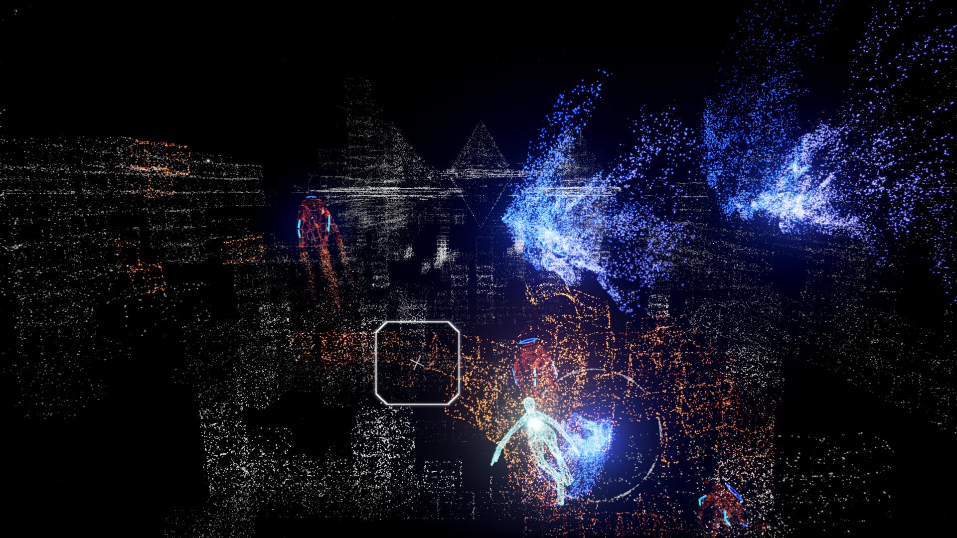 静止画では全然伝わらないと思われるのが残念。これはTVモードのスクリーンショットだが、VRモードではパーティクルそれぞれに立体感が加わり、光の海を泳ぐさまを見せつけられる
