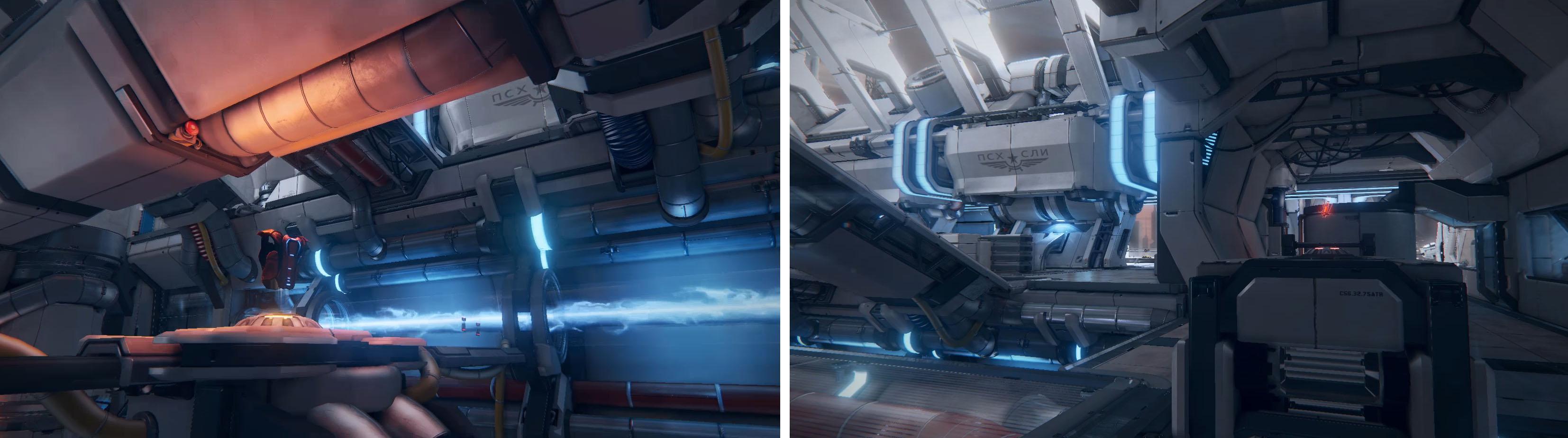 メガアーマー(画像左の鎧)はマップ1F中央の池。アドレナリン(画像右の赤いアイテム)はマップ2Fの箱の上。まずはこの場所を覚えよう。『UT』の場合は、ゲーム開始後一定時間経過でアイテムが出現するが、本作は最初から出現する。また、アドレナリンの出現間隔がメガアーマーより長い。