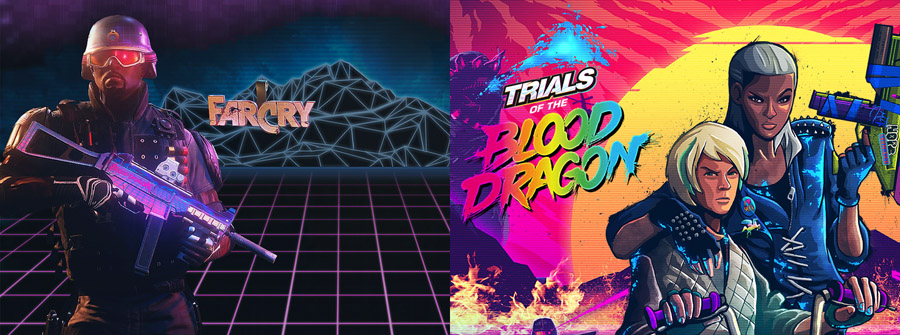(『Rainbow Six Siege』のDLC「Castle Blood Dragon」(画像左)と『Trials of the Blood Dragon』(画像右)