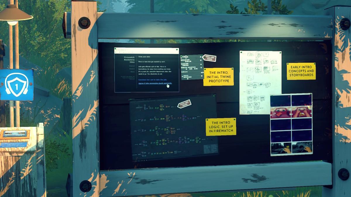 「Firewatch Audio Tour」ではオーディオだけでなく開発資料も展示されている