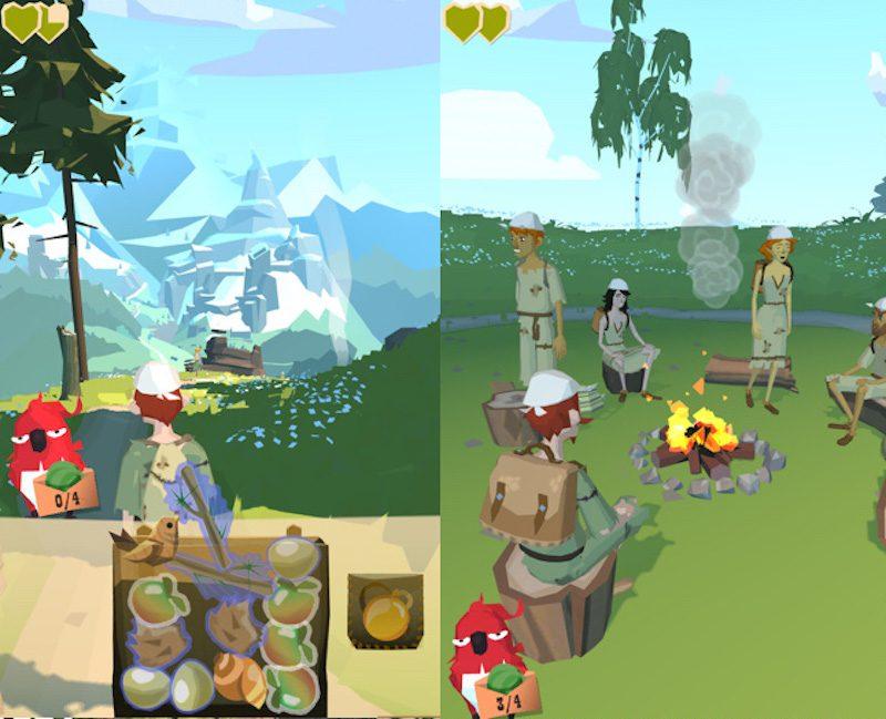 インベントリーパズル、画像右:キャンプ地での出会い