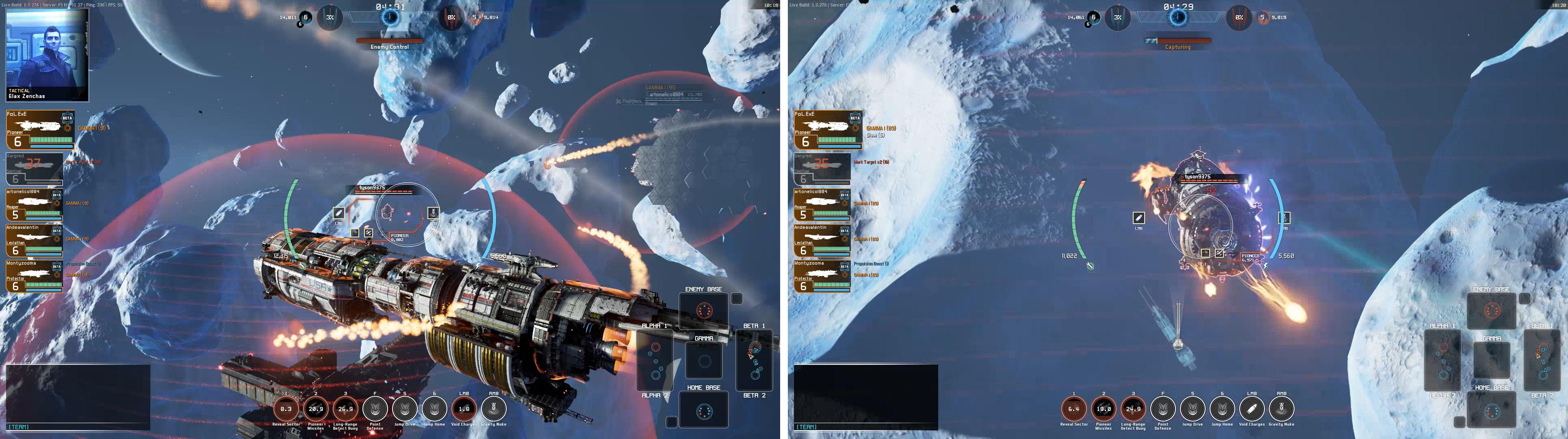 画像左:通常時のTPSモード。画面右:スナイパーモード。画面左では豆粒のよう敵艦も画面右のように拡大でき、偏差射撃にかかせない敵の移動方向すなわち船首の向きがわかる。集弾性は「画面に対する照準枠の大きさ」で決まるため、スナイパーモードは集弾性が高い。至近距離でないかぎり、どの距離でもスナイパーモードで攻撃すべし。
