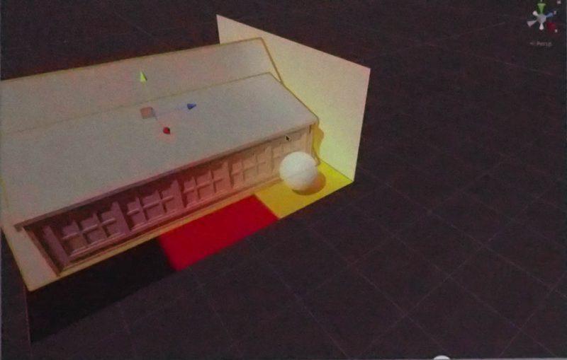 建物を左右に動かすと、それぞれ間接光で照らされる色が動的に変化する