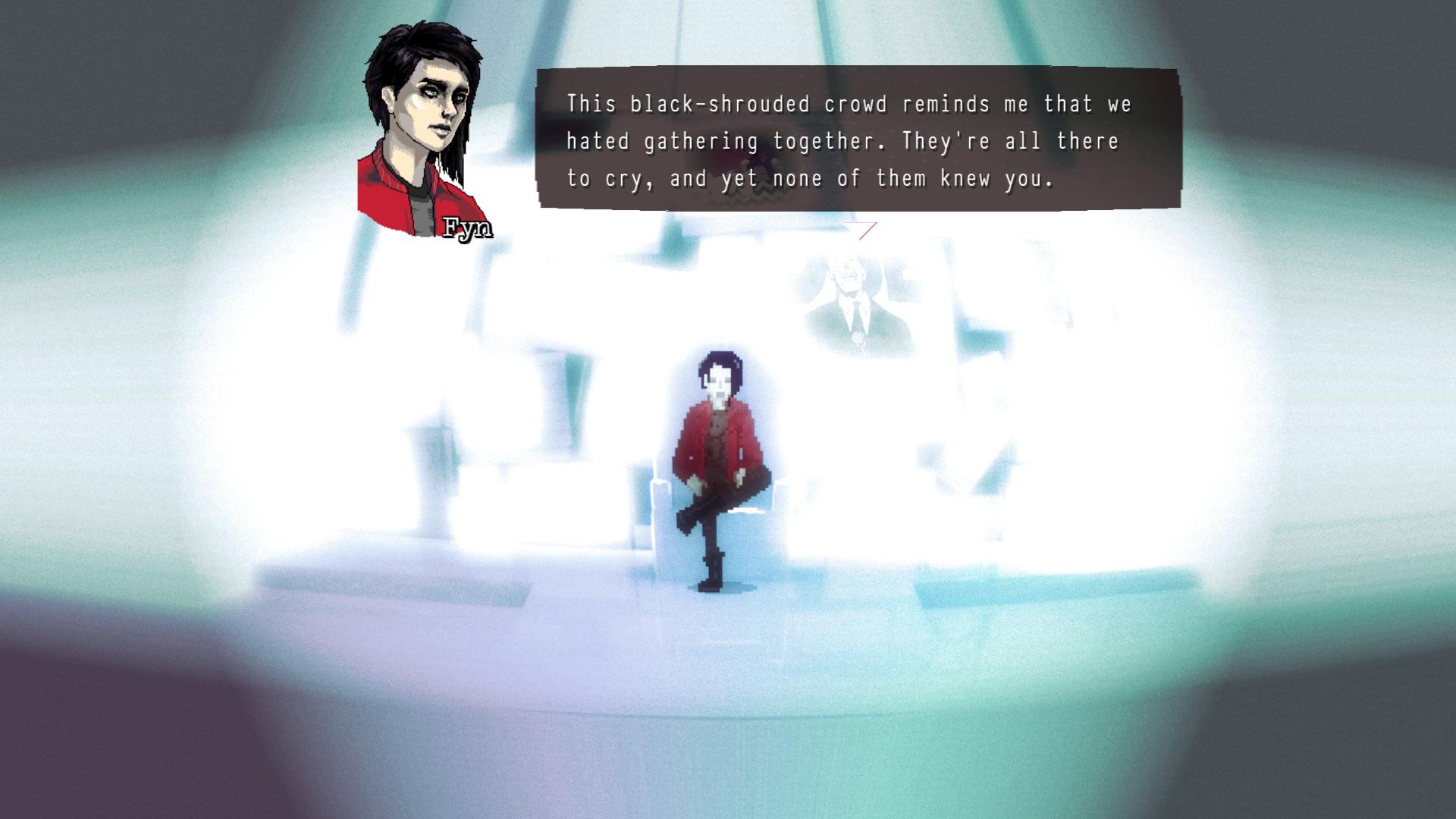 ひとつひとつの物語の最後にこのカットシーンが入り、Fyn自身による失われた記憶の独白が行われる。