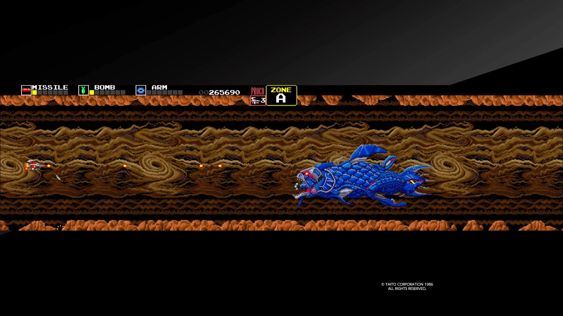 最初のステージ、A ZONEのボス「キングフォスル」のインパクトは大きかった。魚介類をモチーフとした敵メカのデザインがとにかくかっこいい