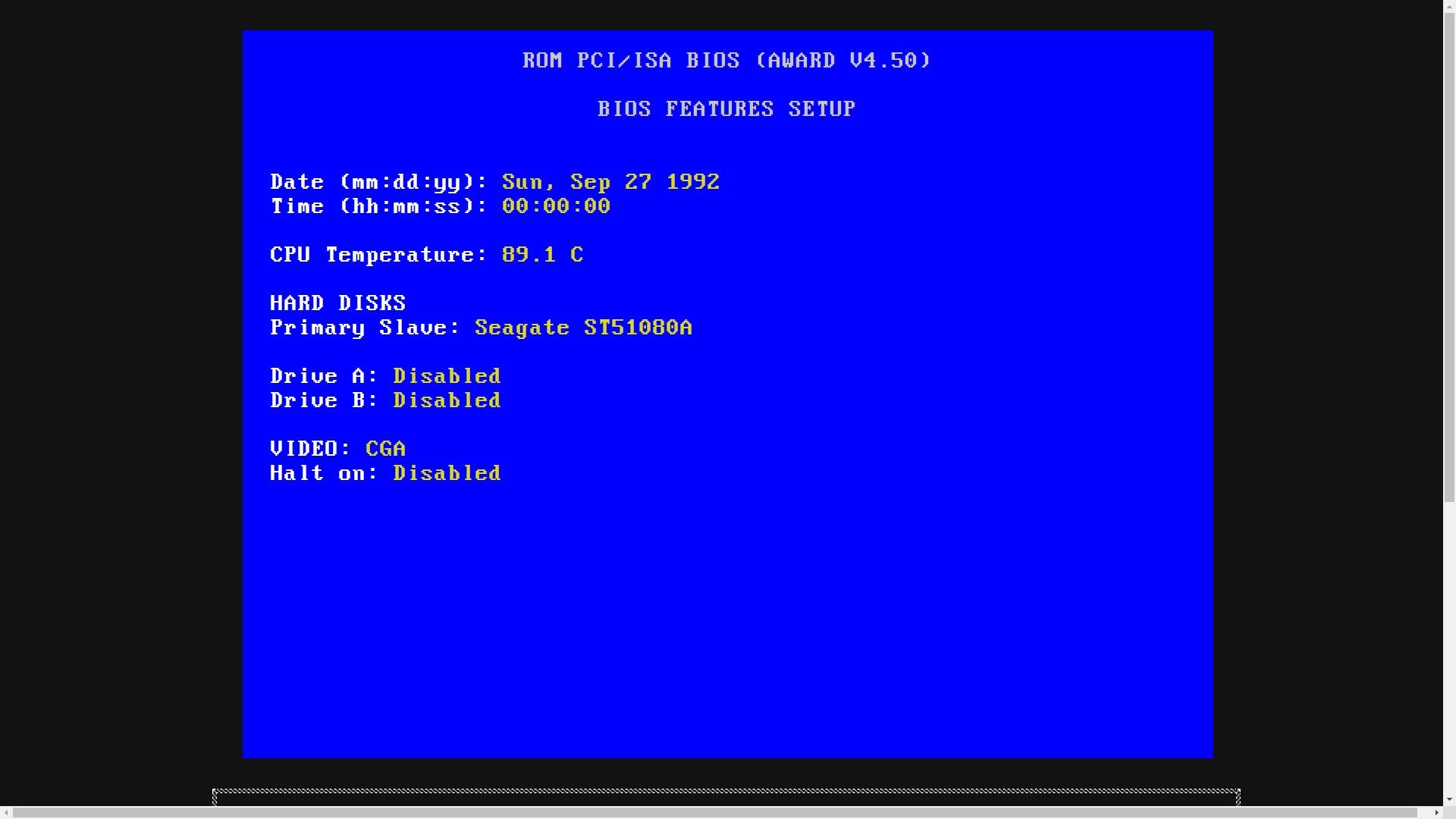 ちなみに、この画面で言及されているSeagate製のハードディスクは、90年代に発売された容量1GBのもののようだ。
