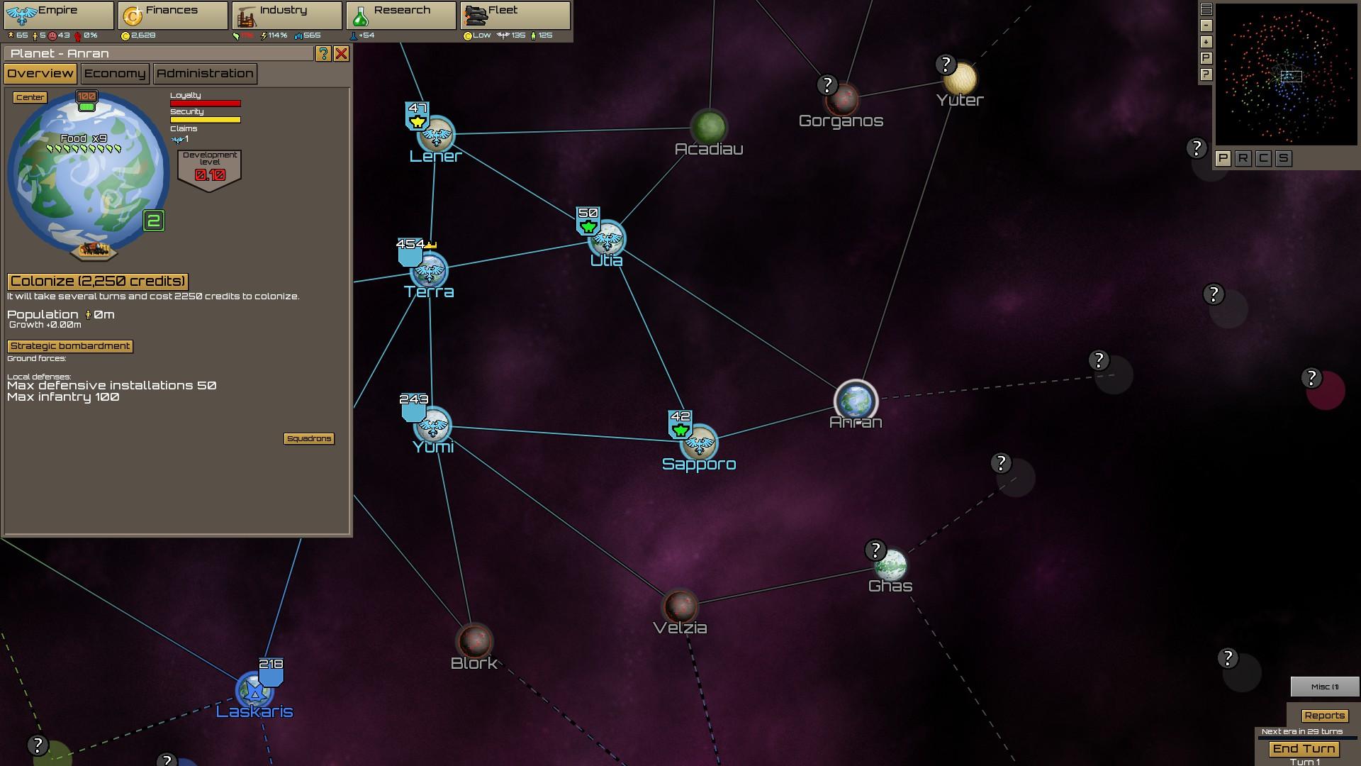惑星がワープ航路でつながるオーソドックスなマップ。入植したい惑星で入植ボタンを押せば、数ターン後に完了する。艦隊を自動設定すれば国境惑星に駐在してくれるので、防衛し忘れることはない。
