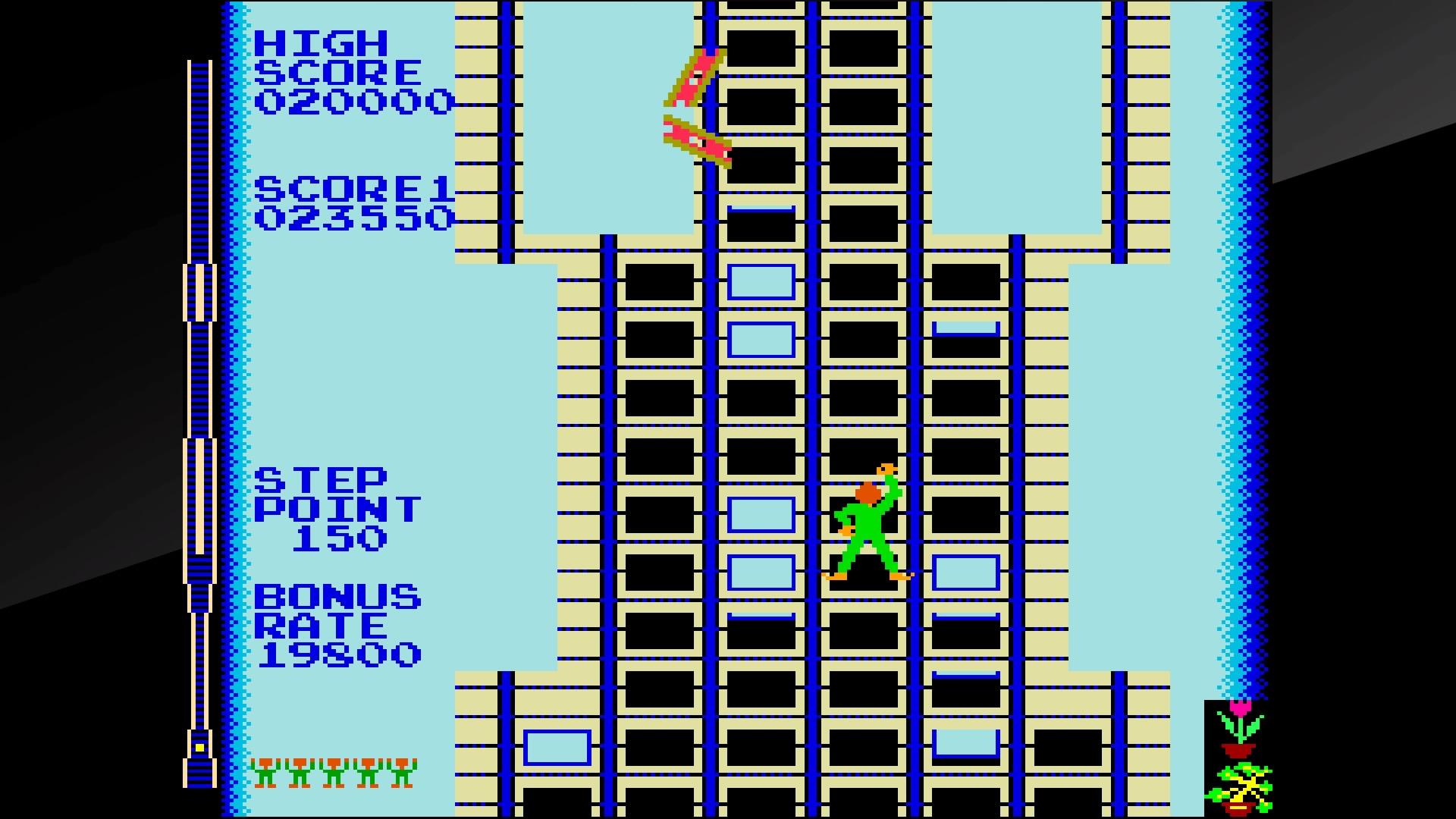 レバーを2本使い、「手」の部分を左右それぞれで移動させるイメージで操作する。各レバーを互い違いに上下へ動かせば、はしごを登るように上層階へ上っていく