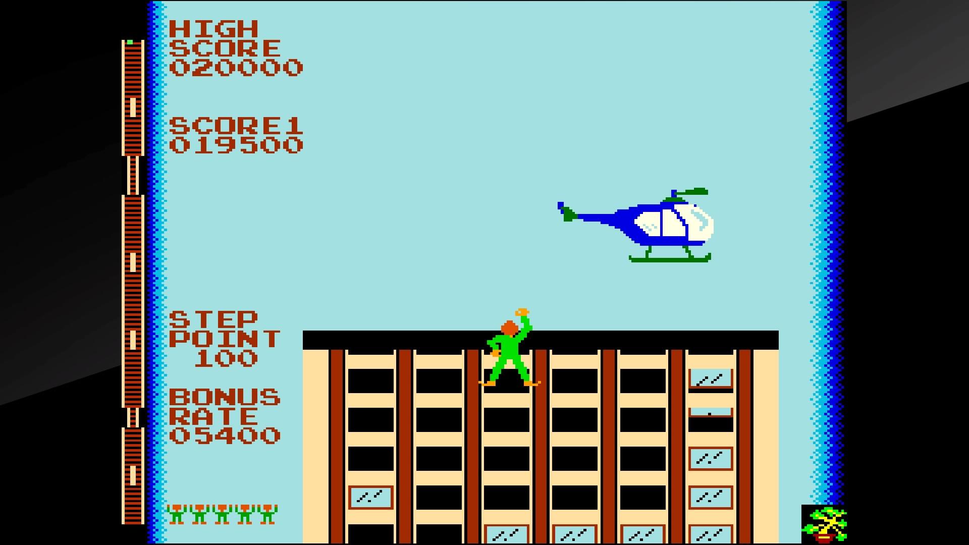 ビルの屋上まで上ったら、今度はヘリコプターに捕まらなければならない。一定時間で帰ってしまうので、ヘリコプターが下がってくる場所に素早く移動してつかまろう