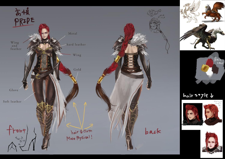 「高慢」なイメージでデザインされた主人公の女性戦士